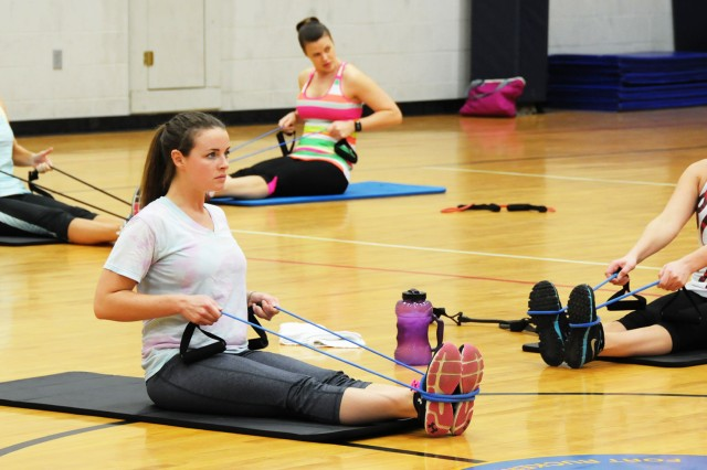 Participants take part in an exercise class while utilizing resistance bands during their Strong Bodies workout at Fortenberry-Colton Physical Fitness Center in previous years.