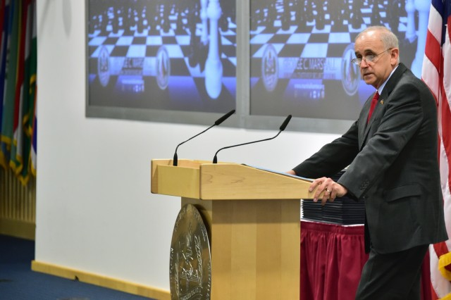 GARMISCH-PARTENKIRCHEN, Germany (Sept. 13, 2017) - Retired U.S. Army Lt. Gen. Keith W. Dayton, the Marshall Center director, addresses the graduating class of the Program on Applied Security Studies Nov. 16 at the George C. Marshall European Center for Security Studies in Garmisch-Partenkirchen, Germany. (Marshall Center photo by Karl-Heinz Wedhorn)