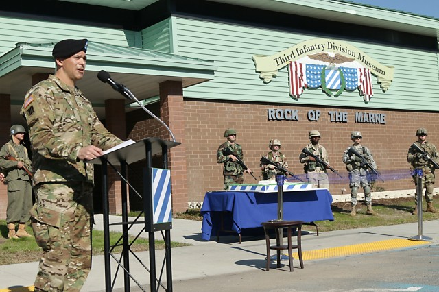 """Col. Sean Bernabe, Task Force Marne commander, delivers his remarks during a grand opening ceremony to reveal the 3rd Infantry Division Museum Nov. 16, 2017, at Fort Stewart, Georgia. Bernabe called the museum, """"a fitting tribute to 100 years of Marne excellence,"""" and an excellent centennial birthday present for the Marne Division. (U.S. Army photo by Spc. Noelle Wiehe, 50th Public Affairs Detachment, 3rd Infantry Division/ Released)"""