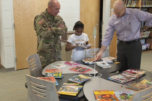 Anniston Army Depot Commander Col. Joel Warhurst and Sgt. Maj. Ronald Ferdinand toured Coldwater Elementary School Nov. 3. Coldwater is the adopt-a-school for the depot.