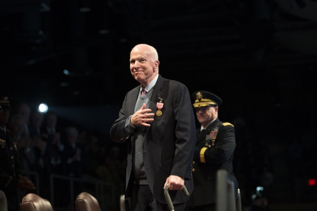 "Army Chief of Staff Gen. Mark A. Milley recognized Sen. John S. McCain for his  60 plus years of outstanding dedicated service to the nation and the U.S. military in a special Twilight Tattoo, ""Salute from the Chief"", Nov. 14, 2017, on Joint Base Myer-Henderson Hall, Va."