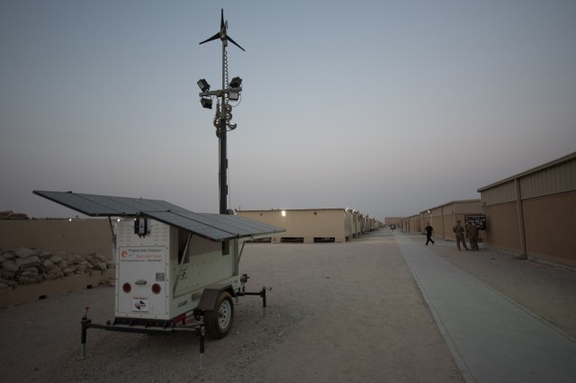 Diesel light towers throughout U.S. Central Command are being replaced with more efficient photovoltaic solar light carts like this one, shown here at Camp Arifjan, Kuwait.