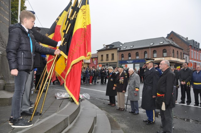 Col. Kurt Connell, garrison commander for U.S. Army Garrison Benelux, pays his respects to war veterans during an Armistice Day ceremony Nov. 11, 2017, in Brugelette, Belgium.