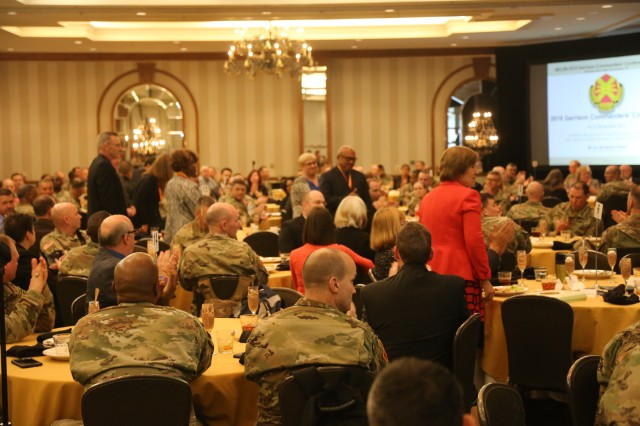 Past recipients of the IMCOM Stalwart Award were asked to stand and be recognized during the 2017 Garrison Commanders Conference in San Antonio, Texas Nov. 17. IMCOM wanted to recognize the continuing value and potential of these and the new Stalwart Award recipients.