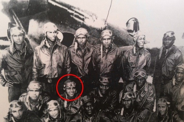 Retired Lt. Col. Robert Friend (circled) pictured as a young captain serving the 332nd Fight Group. Friend, one of the last surviving Tuskegee Airmen who served during World War II, spoke to groups of high school students in southern California earlier this month.