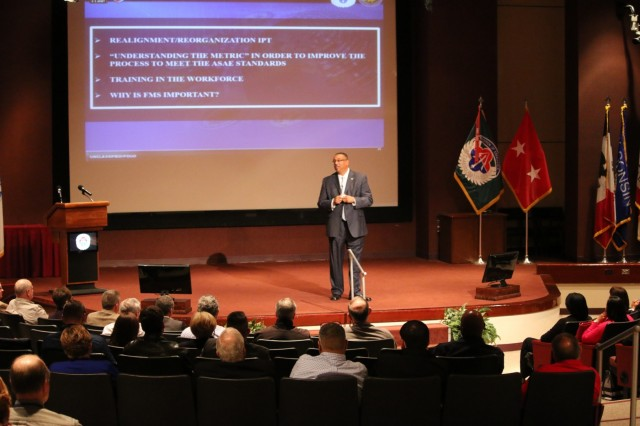 Brian Wood, director of the Aviation and Missile Command's Security Assistance Management Directorate, talks about SAMD's success in delivering capability to U.S. foreign partners during the SAMD Town Hall on Nov. 8.