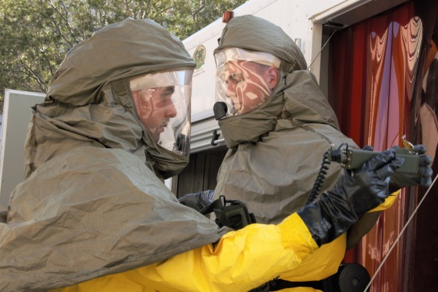 Soldiers with William Beaumont Army Medical Center's Department of Emergency Medicine participate in a decontamination/ Chemical, Biological, Radioactive, Nuclear and Explosives (CBRNE) exercise to measure WBAMC's capability to respond to a CBRNE incident, Nov. 9.
