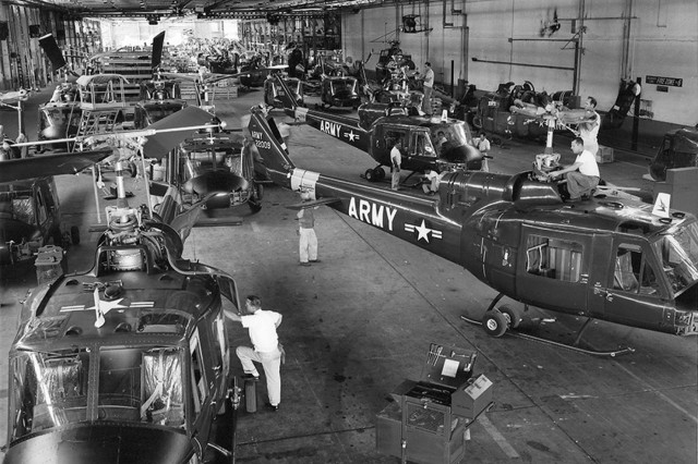 Through the 1960s, the Vietnam War increased the Army depot's workload considerably. The Bell UH-1 Iroquois, known as the Huey, was the workhorse in Southeast Asia and became a major part of the depot's business. (Photo from Corpus Christi Army Depot Website)