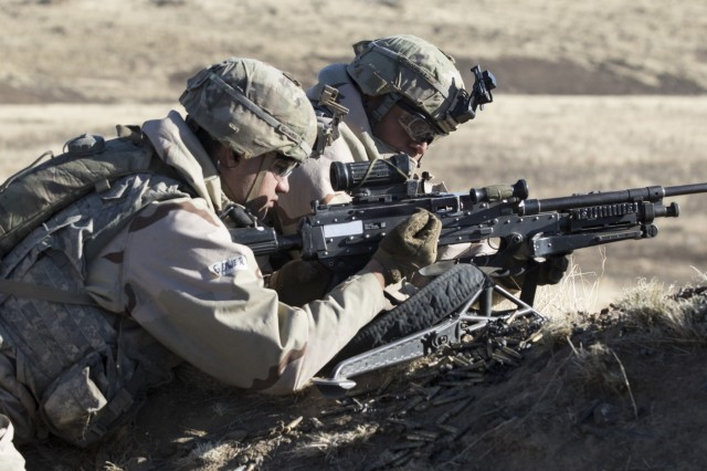 A Soldier with 1-23 Infantry, 1-2 Stryker Brigade Combat Team, charges his weapon Nov. 2, 2017, at Yakima Training Center, Washington, during Operation Argos. Operation Argos was a training exercise that included company combined arms live fire exercises, a sustainer gunnery and a joint capabilities integration exercise.