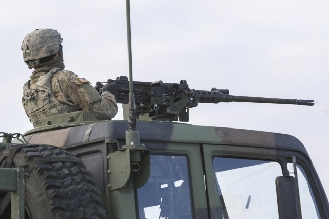 A Soldier 296th Brigade Support Battalion, 1-2 Stryker Brigade Combat Team, fires an M2 50 Cal. Machine Gun Nov. 6, 2017, during a training exercise at Yakima Training Center, Washington. This was during operation Argos and included company combined arms live fire exercises and a sustainer gunnery.