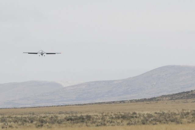 A Shadow Unmanned Aerial System comes in for a landing Nov. 7, 2017, at Yakima Training Center, Washington. This UAS was operated by Soldiers of 23rd Brigade Engineer Battalion, 1-2 Stryker Brigade Combat Team, in support of intelligence gathering during training. This was during operation Argos, a training exercise that included company combined arms live fire exercises and a sustainer gunnery.