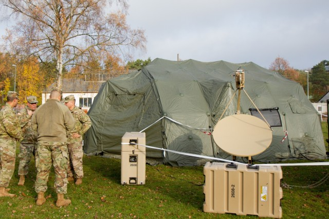 U.S. Army Reserve Soldiers with the 361st Civil Affairs Brigade set up a Civil-Military Operations Center (CMOC) expeditionary deployment operations exercise Nov. 18, 2017 in Kaiserslautern, Germany. The purpose of the exercise was to establish and validate communications for a CMOC in austere environments. (U.S. Army Reserve photo by Spc. Daisy Zimmer, 221st Public Affairs Detachment)
