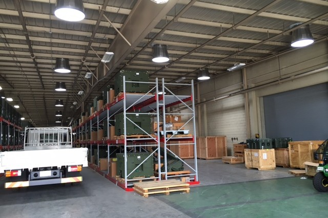 Inside view of the U.S. Army Materiel Support Command - Korea warehouse at Camp Carroll installed with solar tube lighting system.
