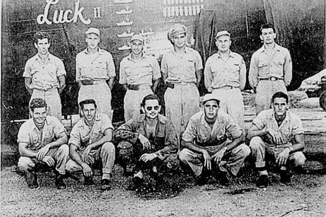 Air Corps crew that crashed on Namhae Island, Aug. 7, 1945 Top row (left to right): Steve Wales, nose gun; Ed Mills Jr., pilot; Nick Simonich, co-pilot; Joe Orenbuch, navigator; Ron Johnson, bombardier; Walter Hoover, gun. Front row (left to right): Jim Murray, engineer; Henry Ruppert, radar operator; Warren Tittsworth, top gun; John Regnault, radio operator; Tom Burnworth, tail gun.