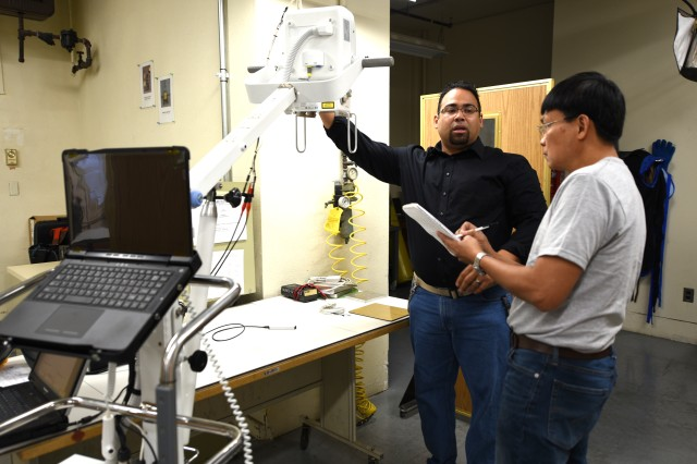 Biomedical equipment specialists at Medical Maintenance Operations Division-Tracy discuss the maintenance plan for the newly fielded portable digital radiography system.