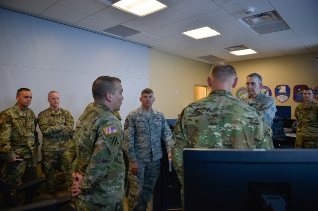 U.S. Air Force Gen. John Hyten, commander of U.S. Strategic Command, right, and U.S. Air Force Chief Master Sgt. Patrick McMahon, USSTRATCOM senior enlisted leader, talk with Soldiers of the 100th Missile Defense Brigade who operate the ground-based midcourse defense. Their visit to the Missile Defense Element at the Missile Defense Integration and Operations Center, Schriever Air Force Base, Colorado, Nov. 13, was part of a larger tour of U.S. Army Space and Missile Defense Command/Army Forces Strategic Command facilities that support the USSTRATCOM mission in Colorado Springs, Colorado. One of nine Department of Defense unified combatant commands, USSTRATCOM has global responsibilities assigned through the Unified Command Plan that include strategic deterrence, space operations, cyberspace operations, joint electronic warfare, global strike, missile defense and intelligence.