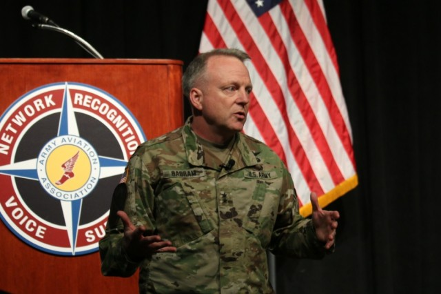 Maj. Gen. Doug Gabram, commander, U.S. Army Aviation and Missile Command, presented a unified front for readiness and sustainment during his keynote address to defense industry representatives at the Army Aviation Association of America symposium here on Nov. 15.
