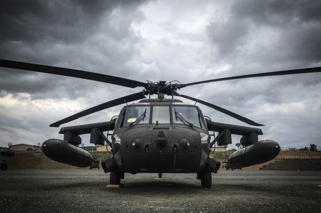 A UH-60 Blackhawk helicopter sits at Nova Solo Training Area during Saber Guardian 2017 in Bulgaria.