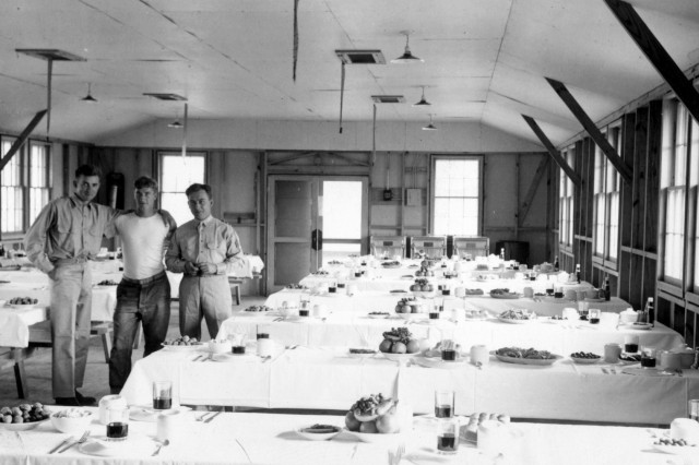 Soldiers stop for a photo at then-Camp McCoy, Wis., prior to a Thanksgiving dinner at the installation in November 1937. (U.S. Army photo)