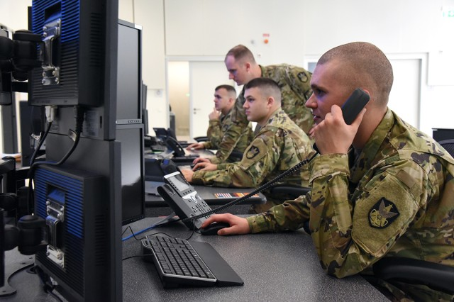 C Company, 53rd Signal Battalion Soldiers provide global wideband payload control, transmissions control and defensive space control at a Wideband Satellite Communications, or SATCOM, Operations Center.