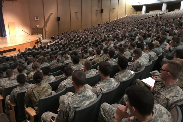 Brig. Gen. James Bonner,  a native of Anna, Ill. and commander, 20th Chemical, Biological, Radiological, Nuclear, Explosives (CBRNE) Command, speaks with junior class cadets at the U.S. Military Academy during the evening lecture period. Bonner shared his experiences as a chemical corps officer, lessons learned during his career, and insights on professional opportunities within the chemical corps and explosive ordnance disposal career fields.
