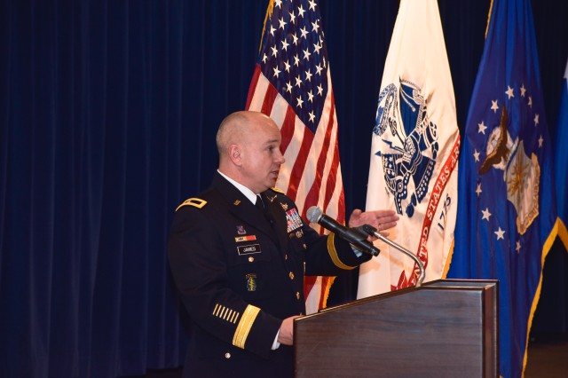 U.S. Army Col. Thomas James, deputy commander of Joint Functional Component Command for Space, speaks following his promotion to the rank of brigadier general at Peterson Air Force Base, Colorado, Nov. 14. As a component of U.S. Strategic Command, JFCC Space is responsible for executing continuous, integrated space operations to deliver theater and global effects in support of national and combatant commander objectives. JFCC Space coordinates space operational-level planning, integration and coordination to ensure unity of effort in support of military and national security operations, and support to civil authorities.