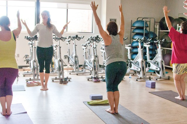Patrons participate in a previous yoga class at Fortenberry-Colton Physical Fitness Center. Yoga is among the numerous class offered through Well Beats.