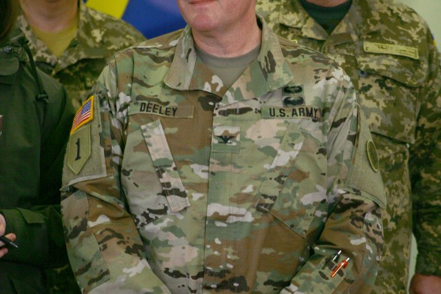 YAVORIV, UKRAINE -  Col. Dennis Deeley, the Joint Multinational Training Group - Ukraine commander conducts a media interview following a JMTG-U Transfer of Authority ceremony here Nov. 22. During the ceremony Soldiers from the New York Army National Guard's 27th Infantry Brigade Combat Team (IBCT) took command of the JMTG-U from the Oklahoma National Guard's 45th IBCT, who have been in Ukraine since January.