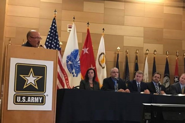 PEO C3T Senior Leaders brief upcoming opportunities during Aberdeen Proving Ground's Annual Advanced Planning Briefing for Industry