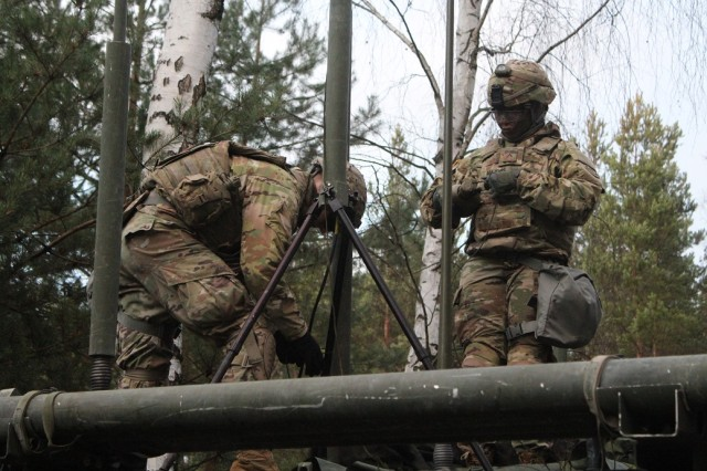 Spc. Morgan Payne and Pvt. Prestije Majors, a radio retransmission team from Charlie Troop, Regimental Engineer Squadron, 2d Cavalry Regiment, set up antenna systems after jumping to an alternate location during RETRANS team validations on Nov. 15, 2017 in the Grafenwoehr Training Area, Germany. The RETRANS team validations is planned and executed by signal personnel in Charlie Troop, Regimental Engineer Squadron, and the 2CR S6 section.  The primary objective of the training event was to evaluate the various RETRANS team's ability to execute their mission essential tasks (MET) in accordance with established Training and Evaluation Outline (T&EO) criteria.