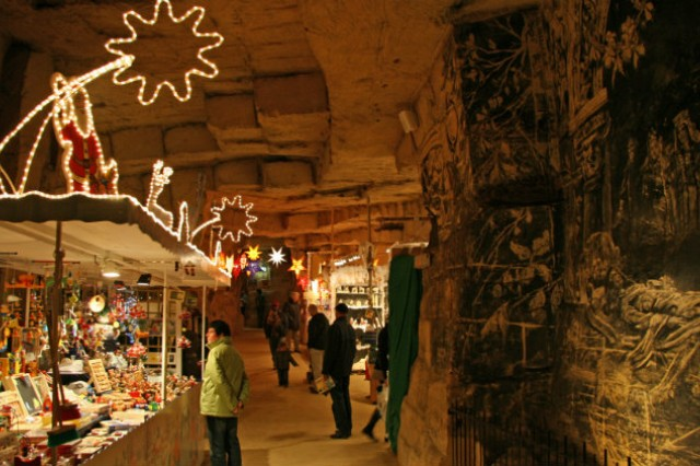 One of the Christmas markets in the Netherlands is held in a cave in the town of Valkenburg. The market is considered the largest, oldest and most visited underground Christmas Market in Europe.