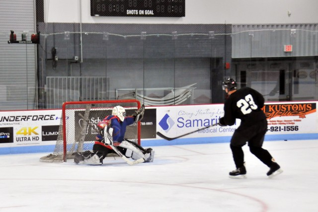 Soldiers from installations around the world have gathered at Fort Drum to participate in a three-week All-Army ice hockey trial camp that will culminate in a contest against a Canadian Army team on Dec. 16. Practices began Nov. 29 at the Watertown Municipal Arena.
