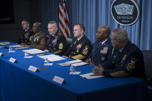 Army Command Sgt. Maj. John W. Troxell, senior enlisted advisor to the chairman of the Joint Chiefs of Staff, and the service senior enlisted advisors speak to reporters at the Pentagon, Nov. 27, 2017.