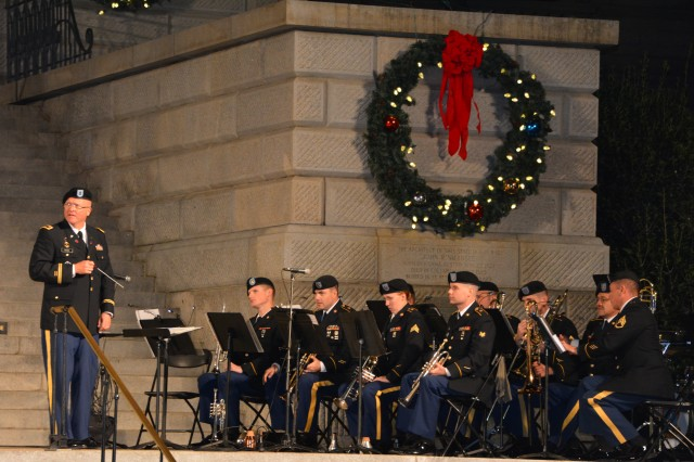 The 282nd Army Band waits for their cue to perform at the base of the S.C. Statehouse steps.