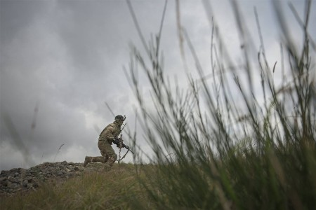A Paratrooper assigned to 503rd Infantry Regiment (Airborne), 173rd Airborne Brigade, runs to cover during a company live fire as part of exercise Eagle Strike, Oct. 23, 2017. The 173rd Airborne Brigade is the U.S. Army's Contingency Response Force in Europe, providing rapidly deploying forces to the U.S. Army Europe, Africa and Central Command Areas of Responsibility within 18 hours. ()
