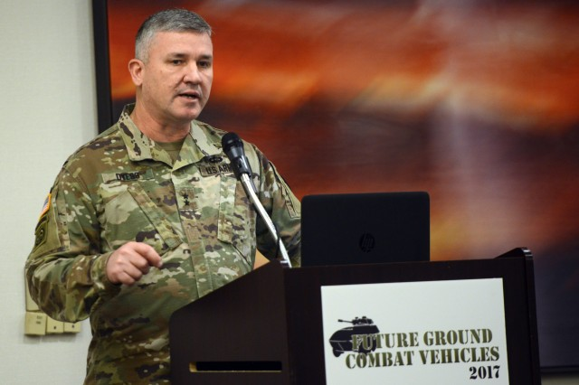 Maj. Gen. Robert Dyess, director of the Army Capabilities Integration Center, speaks about homeland security and improving lethality of combat systems at the Future Ground Combat Vehicles Summit in Livonia, Mich., Nov. 30, 2017.