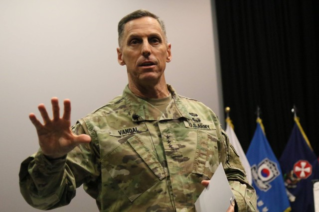 Eighth Army Commanding General Lt. Gen. Thomas S. Vandal speaks to the audience about the importance of fixing the problem of sexual harassment and assault at the inaugural SHARP Summit at the Troop Theater Nov. 29 at Camp Humphreys. The event addressed sexual violence issues and how leaders and Soldiers can implement meaningful, effective solutions.