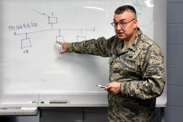 Air Force Maj. Jack Skoda, a cyber instructor with the Vermont Air National Guard's 229th Information Operations Squadron, teaches a class at a Norwich University military learning facility in Northfield, Vermont. Skoda divides his military duties between the university and the Air Force Institute of Technology at Wright-Patterson Air Force Base, Ohio, facilitating both online and resident courses surrounding information and cyberspace operations.