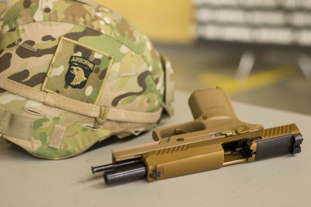 FORT CAMPBELL, Kentucky -- The M17 or Modular Handgun System is the Army's newest handgun currently being fielded to Soldiers.  The 101st ABN DIV (AASLT), the word's only air assault division, is the first unit in the Army to field the service's new handgun.  The M17 replaces the M9 pistol, the standard Army sidearm since 1986.  The division received more than 2,000 M17s and M18s, the compact version of the M17, Nov. 17, and unpacked, inventoried, inspected and test fired a portion of the pistols, Nov. 27.  It began fielding the MHS, Nov. 28.  More expansive, battalion and brigade-level fielding initiatives will begin across the division in the coming weeks.