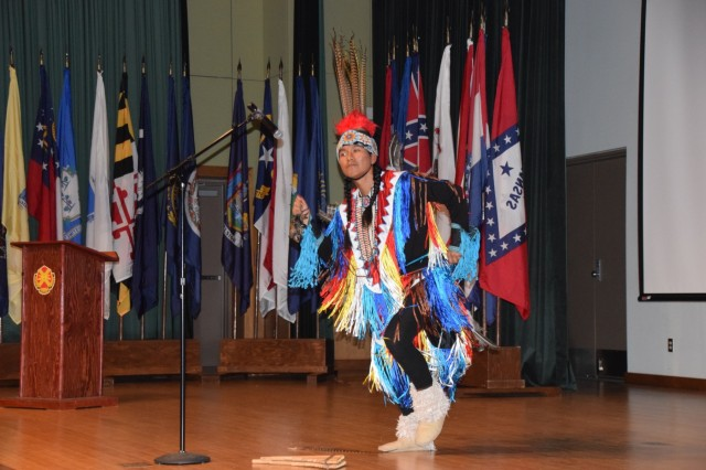 David Morales, a member from the Navajo Nation, performs at the National American Indian Heritage Month observance Nov. 22, 2017, at Camp Carroll, South Korea. National American Indian Heritage month is celebrated every November throughout the U.S.