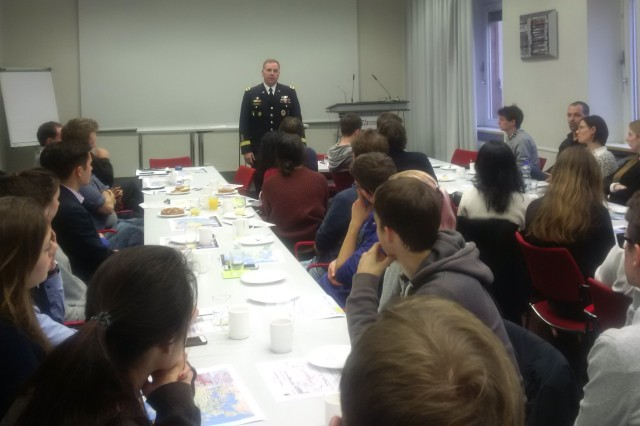 """Lt. Gen. Frederick """"Ben"""" Hodges eats breakfast and speaks with students in Mannheim Germany as a part of his effort to promote continued German leadership, to earn the trust of Germany's current and future leaders, and to thank Germany for the being the invaluable Host Nation ally that it is."""