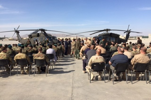 Photo of Afghan Pilot training recognition ceremony courtesy of MG Neil Thurgood from CSTC-Afghanistan