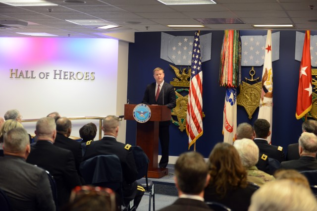 Ryan D. McCarthy, under secretary of the Army, speaks at the Army Community Partnership Recognition Ceremony Dec. 4, 2017, at the Pentagon, where seven installations were recognized, along with their community partners.