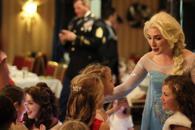 Queen Elsa visits with Ranger daughters at a Father-Daughter Ball, December 1st, on the Riverboat Georgia Queen, Savannah, Georgia.