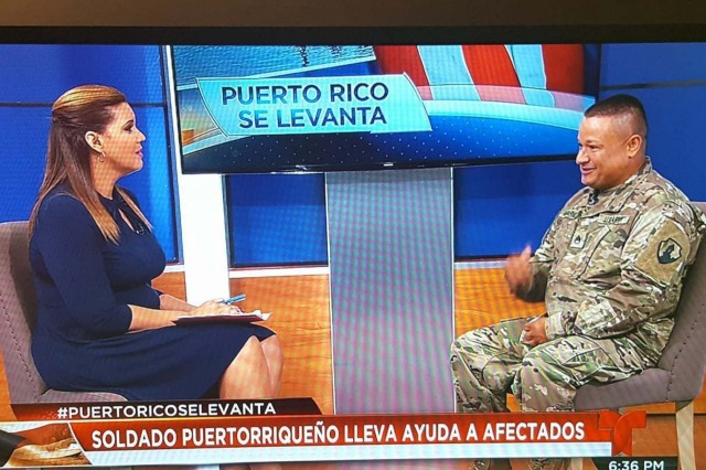 Staff Sgt. Antonio Alvarado, from the U.S. Army Reserve, 1st Mission Support Command, is interviewed, Oct.9, 2017, in Telemundo about his role in the delivering of food and water to the people of Puerto Rico, in the aftermath of hurricane Maria.  Alvarado drove over 1,200 miles across the island as part of the recovery mission. America's Army Reserve proved to be a critical element in the logistical support to the federal and state authorities during this emergency.