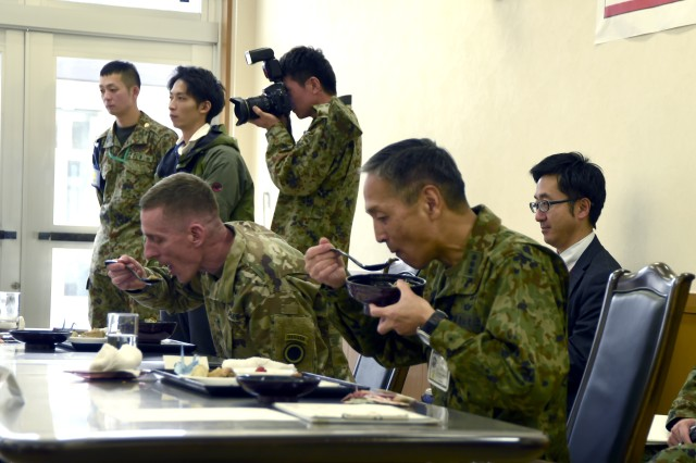 CAMP SENDAI, Japan -- Army Lt. Gen. Gary J. Volesky, commander, Army I Corps, Joint Base Lewis-McChord, Washington, and Lt. Gen. Tetsuro Yamanoue, commanding general, Northeastern Army judges Iron Chef 2017 during exercise Yama Sakura 73. Four teams comprised of American and Japanese forces participated in a friendly cooking competition during the exercise. Yama Sakura is an annual bilateral command post exercise involving the U.S. Military and the Japan Ground Self-Defense Force (JGSDF).The purpose of the exercise is to enhance U.S. and Japanese combat readiness and interoperability while strengthening bilateral relationships and demonstrating U.S. resolve to support the security interests of allies and partners in the Indo-Asia-Pacific region. During the exercise, U.S. military members and JGSDF members exchange ideas, tactics, techniques, military experiences, and culture.  (U.S. Navy Photo by MC2 (SW) Whitehead, Marquis)