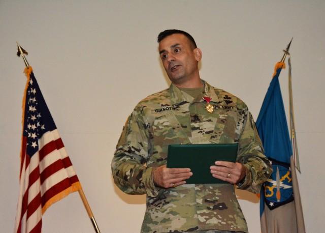 Command Sgt. Maj. Gianotti receives the Legion of Merit