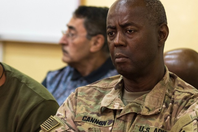 CAMP TAJI, Iraq (Nov. 7, 2017) - Brig. Gen. Sylvester Cannon, deputy commanding general of the 1st TSC-OCP, listens to the important discussions at the logistics symposium. Iraqi and U.S. forces met and discussed upcoming operations by sharing intelligence, developing security strategies and targeting plans. The symposium promotes interoperability between the countries. (U.S. Army photo by Sgt. Jaccob Hearn)