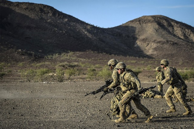 Soldiers assigned to Combined Joint Task Force-Horn of Africa's East African Response Force, fire M240 weapons systems and practice bounding movements on Nov. 1, 2017 in Djibouti, Africa. The purpose of the EARF is to rapidly provide tailorable packages of forces to protect American interests on the continent of Africa should any threats arise.
