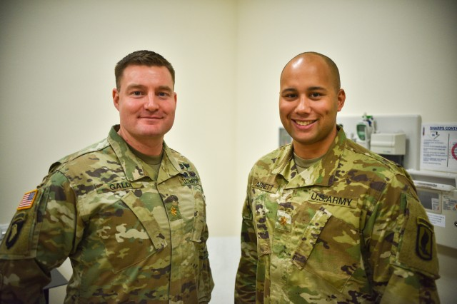 Major Adrian Arnett (Right), the Battalion Surgeon for the Brigade Support Battalion, 173rd Airborne Brigade and Major Andrew Galdi (Left), the Senior Physician Assistant for the 173rd Airborne Brigade who used their medical training to assist in motor accident in Austria.